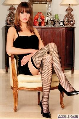 Franse holdup panty (by Anne D'Ales), grote net, zwart