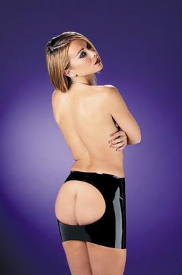 Latex mini rokje met open achterkant